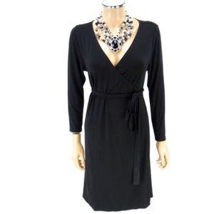 KARI LYN Wrap Dress Black 0 XS